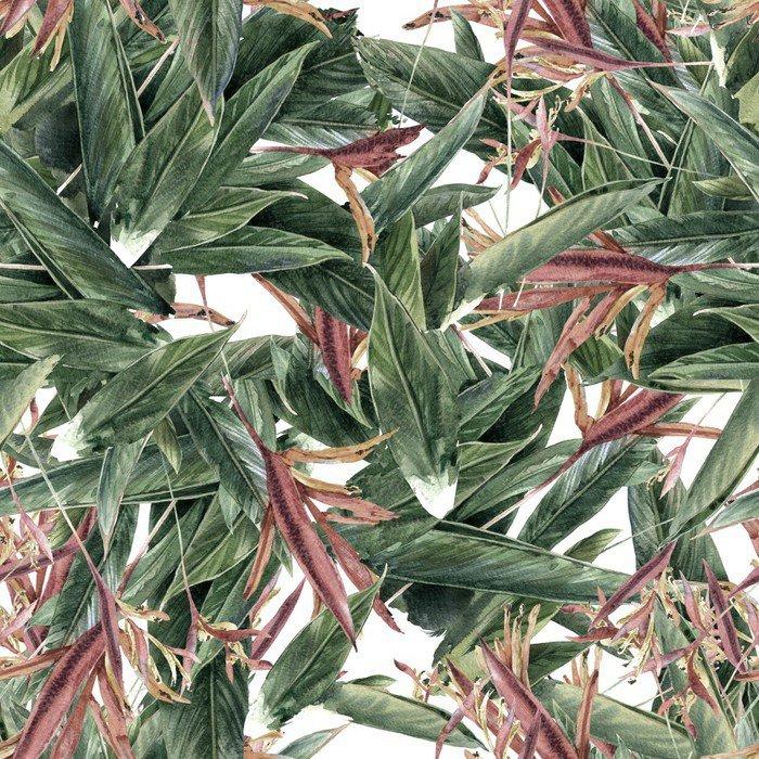 Carta da Parati in Vinile Pittura ad acquerello di foglie e fiori, seamless - Hobby e Tempo Libero