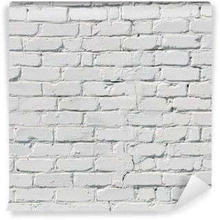 Carta da parati in vinile un muro di mattoni bianchi for Carta muro lavabile adesiva