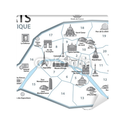 Carta da parati plan touristique paris monumenti francia for Carte paris touristique