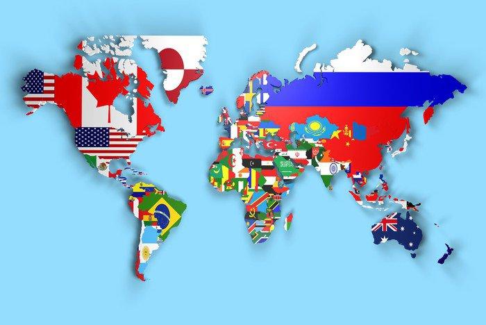 Carta da parati in vinile planisfero mondo 3d con bandiere for Carta da parati vinile