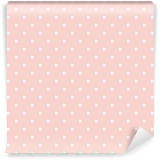 Carta da Parati in Vinile Pois su sfondo rosa baby modello vettoriale senza soluzione di continuità