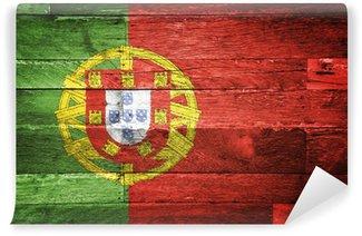 Carta da Parati in Vinile Portogallo bandiera dipinta su legno vecchio