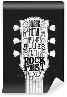 Carta da Parati in Vinile Poster Rock Festival di Musica. Illustrazione vettoriale Vintage stile.