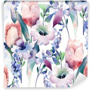 Carta da Parati in Vinile Primavera Bouquet Seamless Pattern