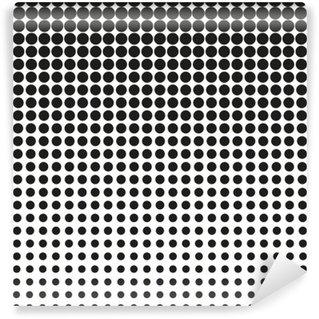 Carta da Parati in Vinile Priorità bassa di semitono. I punti neri su sfondo bianco. Priorità bassa di semitono. puntini semitono di vettore. mezzitoni su sfondo bianco. Sfondo per il design