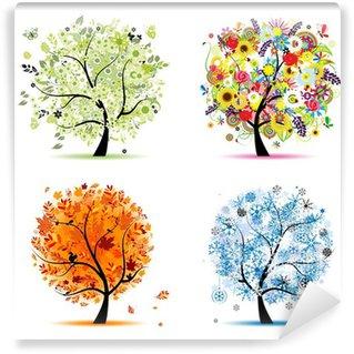 Carta da Parati in Vinile Quattro stagioni - primavera, estate, autunno, inverno. Art alberi
