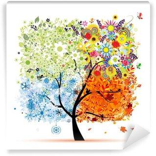Carta da Parati in Vinile Quattro stagioni - primavera, estate, autunno, inverno. Art tree