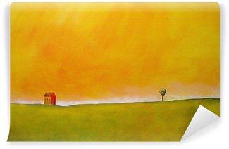 Carta da Parati in Vinile Questa è una pittura astratta di una scena di fattoria