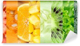 Carta da Parati in Vinile Raccolta con diversi tipi di frutta e verdura