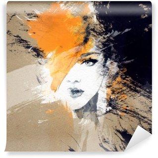 Carta da Parati in Vinile Ritratto di donna. acquerello astratto. moda sfondo