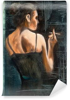 Carta da Parati in Vinile Ritratto di donna con una sigaretta