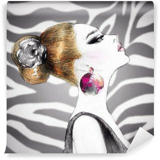 Carta da Parati in Vinile Ritratto di donna .fashion sfondo