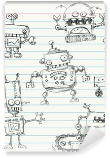 Carta da Parati in Vinile Robot scarabocchi