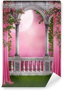 Carta da Parati in Vinile Rose giardino con tende
