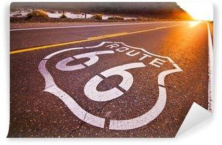 Carta da Parati in Vinile Route 66 tramonto