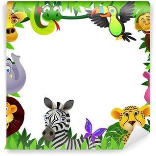 Carta da Parati in Vinile Safari animali cartone animato