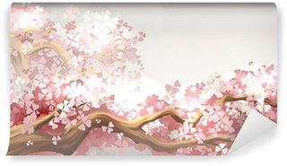 Carta da Parati in Vinile Sakura ramo fiorito