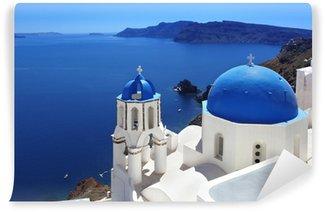 Carta da Parati in Vinile Santorini con Chiesa tradizionale a Oia, Grecia