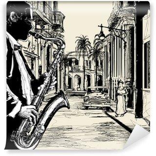 Carta da Parati in Vinile Sassofonista in una strada di Cuba