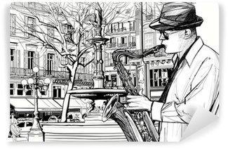 Carta da Parati in Vinile Sassofonista in una strada di Parigi