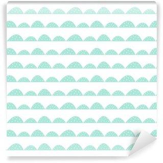 Carta da Parati in Vinile Scandinavian modello menta senza soluzione di continuità in stile disegnato a mano. filari di collina stilizzati. Motivo a onde semplice per il tessuto, tessile e biancheria per neonati.