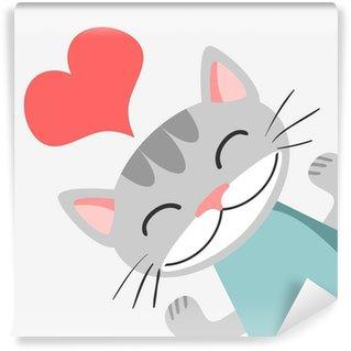Carta da Parati in Vinile Scheda romantico con cute kitty