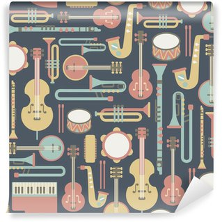 Carta da Parati in Vinile Seamless con strumenti musicali. su sfondo scuro