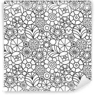 Carta da Parati in Vinile Seamless pattern con fiori rotondi scarabocchio