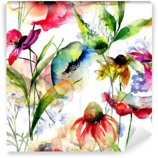 Carta da Parati in Vinile Seamless pattern con fiori stilizzati