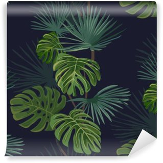 Carta da Parati in Vinile Seamless pattern con foglie tropicali. disegnato a mano di fondo.