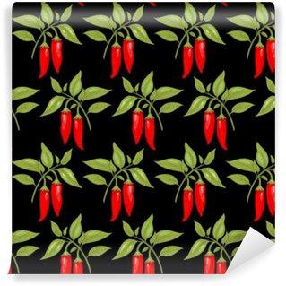 Carta da Parati in Vinile Seamless pattern con pepe di cayenna