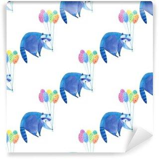 Carta da Parati in Vinile Seamless pattern con procione blu e balloon.Watercolor colorati disegnati a mano illustration.White background.Animals illustrazione.