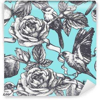Carta da Parati in Vinile Seamless pattern con rose disegnate a mano, mele e uccelli. Vettore