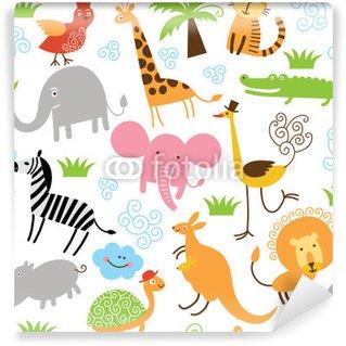 Carta da Parati in Vinile Seamless pattern con simpatici animali