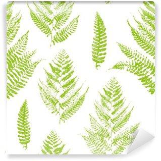 Carta da Parati in Vinile Seamless pattern con stampe vernice di foglie di felce