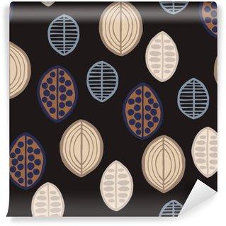 Carta da Parati in Vinile Seamless pattern floreale con foglie primitivi. Seamless pattern floreale con foglie primitivi. etnica tribale, toni taupe su sfondo nero. Design tessile.
