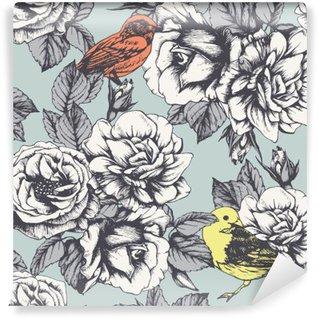 Carta da Parati in Vinile Seamless pattern floreale con rose e uccelli disegnati a mano. Vettore