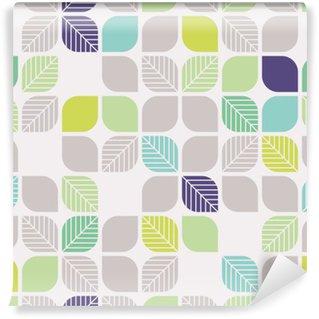 Carta da Parati in Vinile Seamless pattern geometrici con foglie