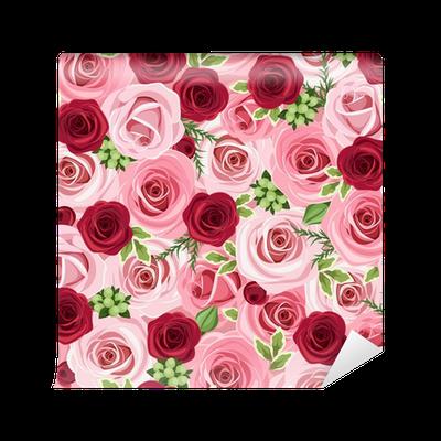 Carta da parati seamless sfondo con rose rosse e rosa for Quadri con rose rosse