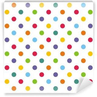 Carta da Parati in Vinile Seamless vector pattern o sfondo con pois colorati