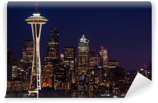 Carta da Parati in Vinile Seattle skyline di notte.