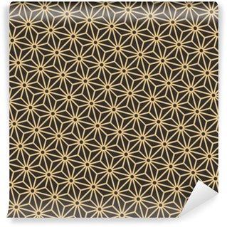 Carta da Parati in Vinile Senza soluzione di continuità antico tavolozza nero e oro diagonale giapponese modello asanoha vettore