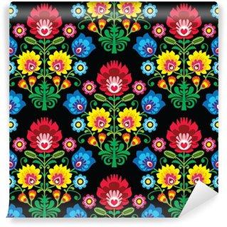 Carta da Parati in Vinile Senza soluzione di continuità dell'arte popolare polacca pattern floreale - Lowickie wzory