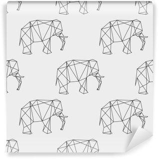 Carta da Parati in Vinile Senza soluzione di continuità elefante disegno geometrico