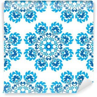 Carta da Parati in Vinile Senza soluzione di continuità floreale blu polacco modello arte popolare - wycinanki