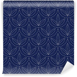 Carta da Parati in Vinile Senza soluzione di continuità in porcellana blu indaco e nero modello d'epoca vettore giapponese Sashiko kimono