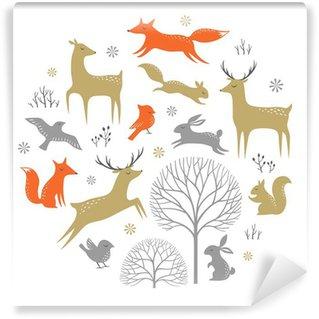 Carta da Parati in Vinile Set of winter woodland elements for Christmas design