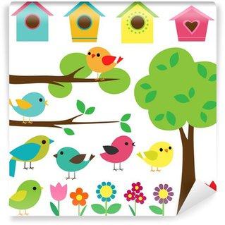Carta da Parati in Vinile Set piccioni con birdhouses, alberi e fiori.