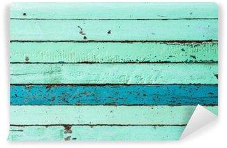 Carta da Parati in Vinile Sfondo blu di legno d'epoca