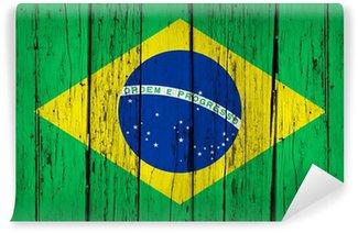 Carta da Parati in Vinile Sfondo Brazil Flag legno